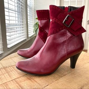 Shoes - Red leather and suede booties
